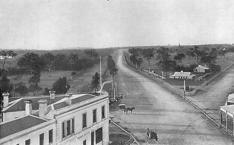 Looking from the Junction towards St Kilda and Punt Roads. (1858) The Police Station can seen located on the triangular intersection.