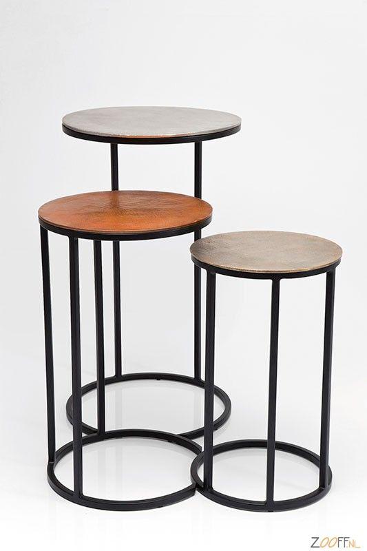 Kare Design Loft Round Vintage Bijzettafel Set