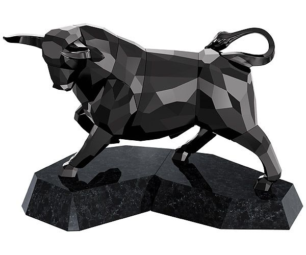 Soulmates - Bull, Black, signed - Figurines - Swarovski Online Shop ($ 1,590.00) - This contemporary, masculine design gleams in black crystal. It stands on a black granite base with a protective felt layer on the bottom and comes with a cleaning cloth, gloves, and card describing the animal's character.