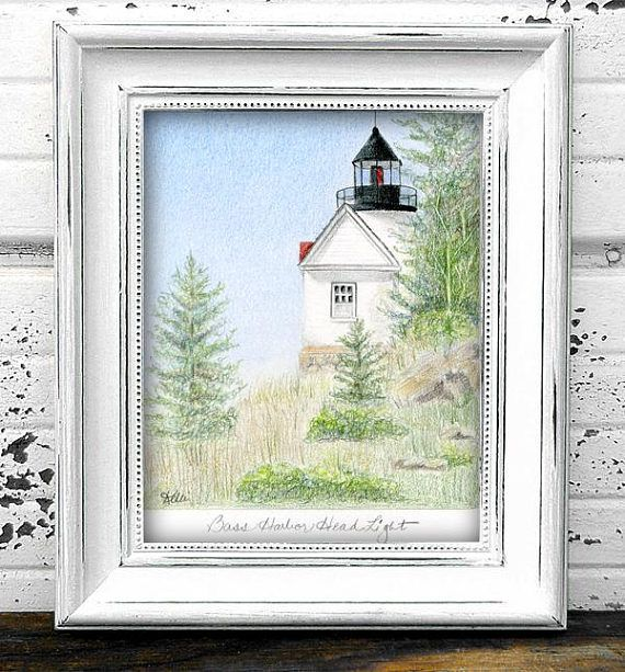 Bass Harbor Head Lighthouse Original Colored Pencil Drawing