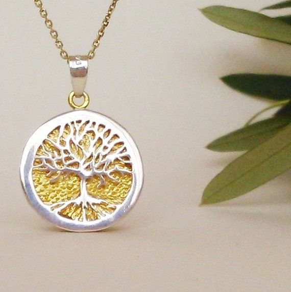 Tree of life pendant, sterling silver pendant, 24k gold plated necklace, women jewelry, gift for her, mother to be gift, Mother's Day gift