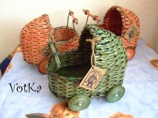 МК плетём декоративную колясочку