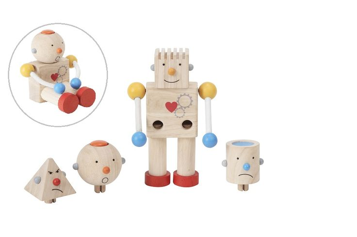 Build-A-Robot: This charming robot features four interchangeable heads, which teach emotions and offer different tactile & auditory experiences. Legs are movable for standing or sitting. - See more at: http://usa.plantoys.com/product/build-a-robot/#sthash.8clqobFI.dpuf