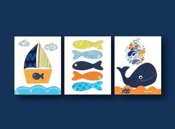 Nursery art, nursery decor, baby nursery, kids room, children wall art, nautical, whale, Boat, fish, orange, navy, Set of three  8x10 prints
