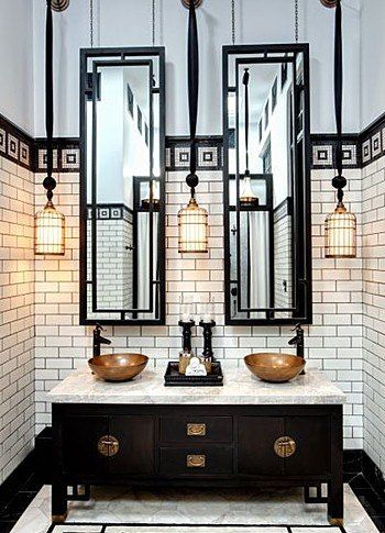 #Rusticlight pendants create a striking #lightingeffect in Bangkok's New Siam Hotel bathroom