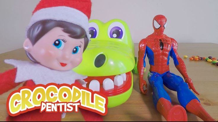 CROCODILE DENTIST CHALLENGE!!! with ELF ON THE SHELF and SPIDERMAN