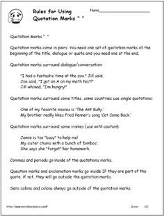 Quotation marks rules sheet for help in remembering how to use quotation marks. I can post this in writing corner and also use it when we discuss different uses of quotation marks in writing.