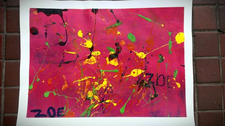 Experimenting with acrylic paint using a straw to blow paint, and splatter