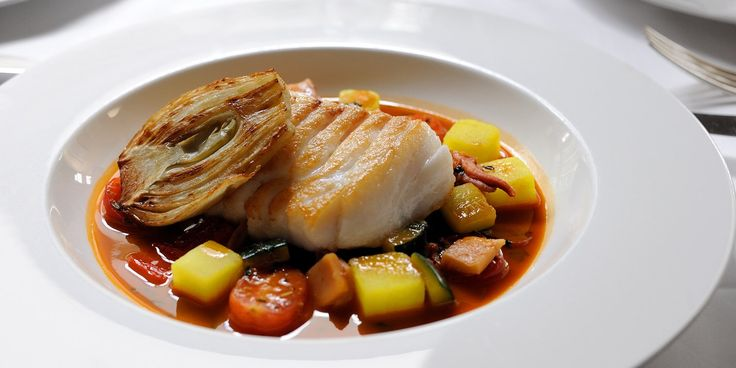 Cod with bouillabaisse sauce -  Stephen Crane.    This cod fillet recipe from Ockenden Manor's Stephen Crane is a a celebration of seafood as the cod fillet is served in a delicious bouillabaisse sauce