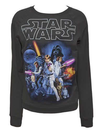 Star Wars Movie Logo Poster Women's Terry Crew Neck Sweatshirt Grey | eBay - SIZE L $42US + $12.99US Shipping - omg a star wars jumper!!!