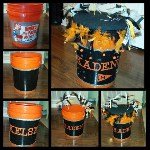 Cheer Buckets. To put their pom poms, warms ups, gloves & hats. And then the lid is padded for a seat in between cheers!