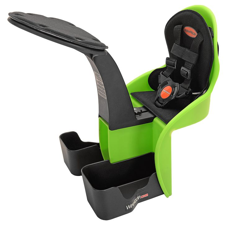 WeeRide Kangaroo Child Bike Seat, Green. Center-mounted child bike seat with safe, comfortable front-row view. Sturdy steel/plastic housing installs on almost any adult bike. Seat harness, padded front bumper and height-adjustable foot cups. Steel support bar doesn't interfere with brake cables or bike gear. For kids ages 1 year and up; maximum capacity of 33 pounds. Child's weight enhances rather than impairs your bicycle's stability.