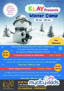 Beat the Winter Blues with a Winter Camp @ Klay Prep Schools & Daycare in Greater Kailash 1 . Children can enroll to enjoy enriching activities such as Dinosaur Workshop, Art & Craft, Flame less Cooking and lots more: http://www.mycity4kids.com/Delhi-NCR/Events/Winter-Wonderland_Greater-Kailash-I/58111_ed