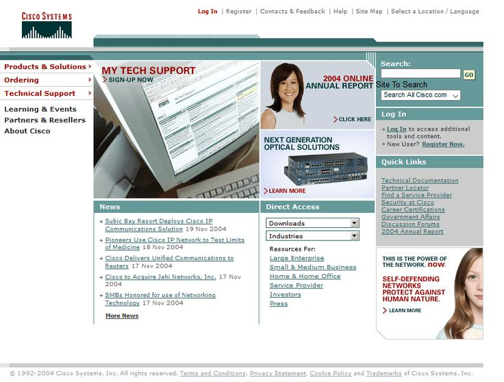 Cisco website in 2004