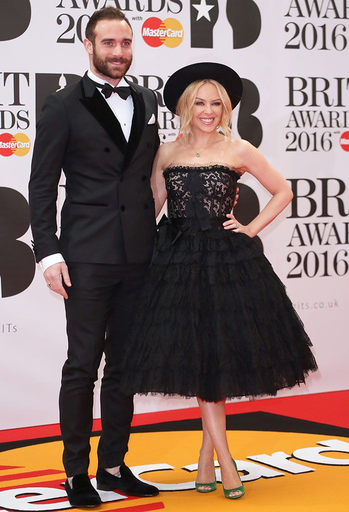 Kylie Minogue and her fiance Joshua Sasse at The Brit Awards 2016 held at the O2 Arena in London on February 24, 2016