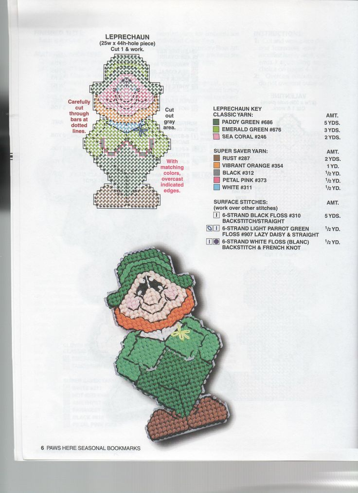 leprechaun bookmark plastic canvas pinterest
