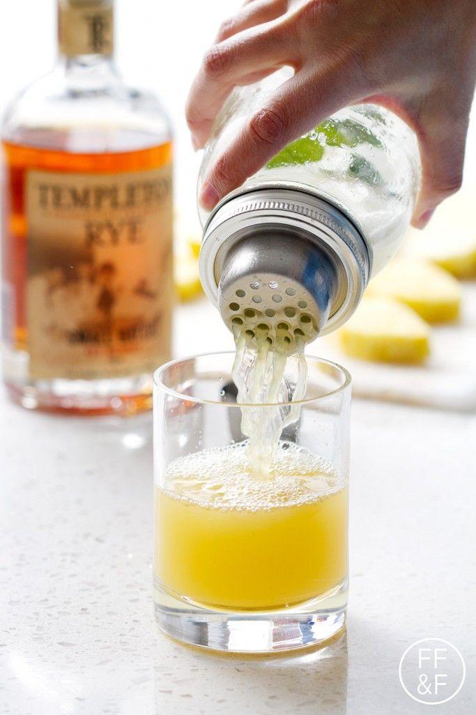 Pineapple Whiskey Punch [Pineapple Juice, lemon juice, fine sugar, mint leaves, whiskey, pineapple chunks to serve]