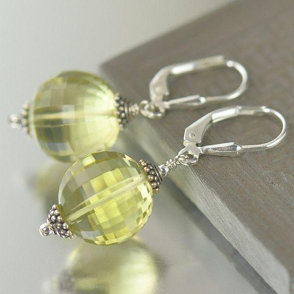 South Paw Studios Handcrafted Designer Jewelry - Faceted Lemon Citrine Gemstone Earrings, November Birthstone