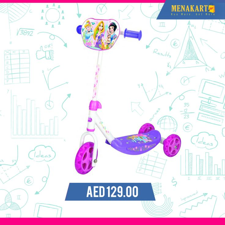 Smoby - Disney Princess 3 Wheels Scooter #kids #toys #games #online #wheelscooter #scooter #shopping #menakart