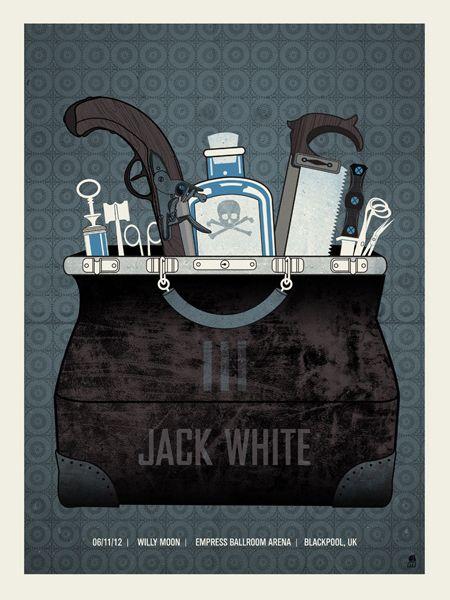 Jack White gig poster by Methane Studios http://jungleindierock.tumblr.com/post/43388553079/jack-white