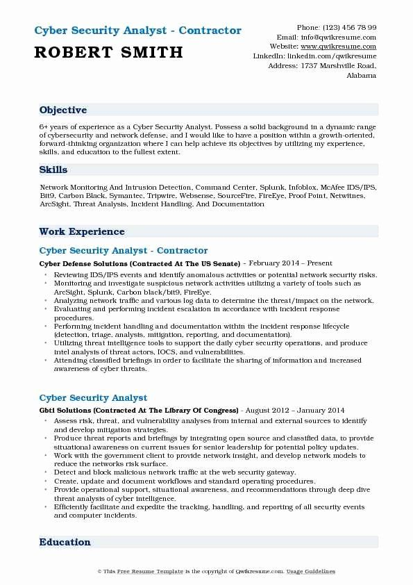 Entry Level Cyber Security Resume Elegant Cyber Security Analyst Resume Samples In 2021 Security Resume Resume Objective Architect Resume Sample