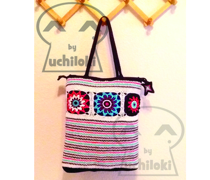 By Uchiloki: PRODUCCION PROPIA  Flowers and Stripes Crochet Bag