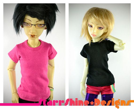 BJD MSD 1/4 Doll clothing - Slim Cut Crew Neck - Your Choice of 12 Colors