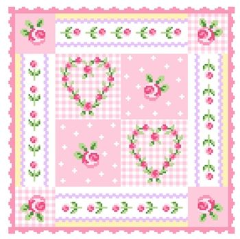DMC Hearts and Flowers Cushion. And other free DMC needlework charts.