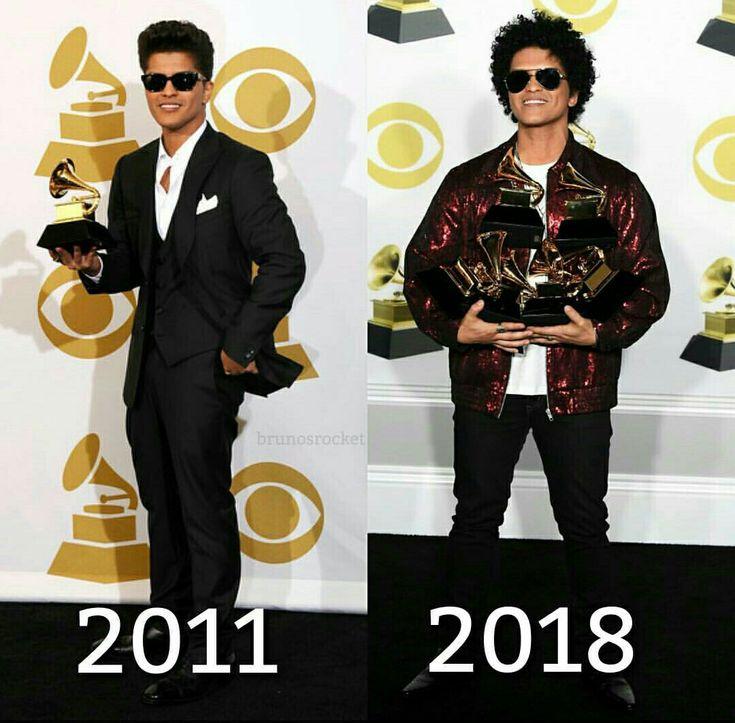 Bruno Mars en los grammy 2018 y 2011 ❤~ sigueme como Camila Tello ❤