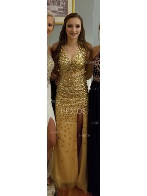 0b47b76f6c88 Sheath/Column V-neck Sequin Sweep/Brush Train Sleeveless Jersey Dresses -  Prom Dresses - Hebeos Online