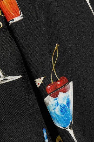 Dolce & Gabbana - Printed Silk-twill Dress - Black - IT36