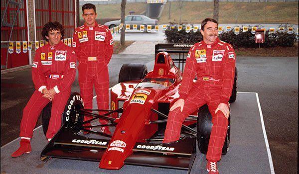1. Alain Prost 2. Nigel Mansell Test: Gianni Morbidelli Ferrari Presentation, Fiorano, Italy, 1990