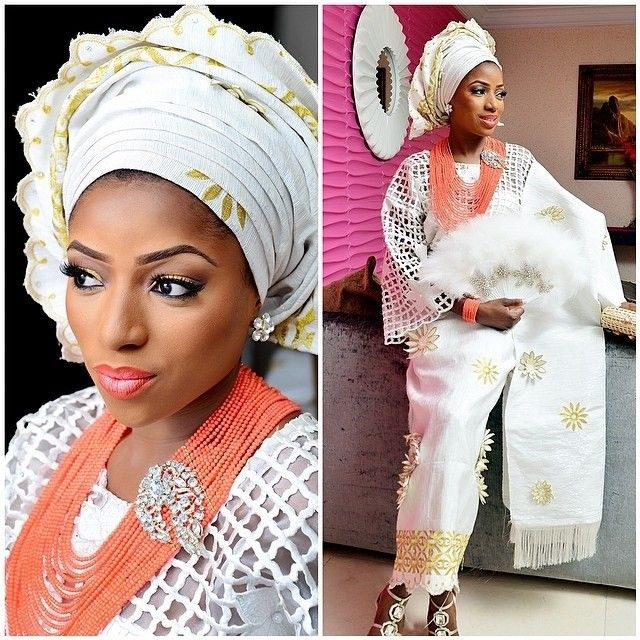 Nigerian Traditional Yoruba Wedding: Nigerian Yoruba Bride In White Guipure Lace Buba, White