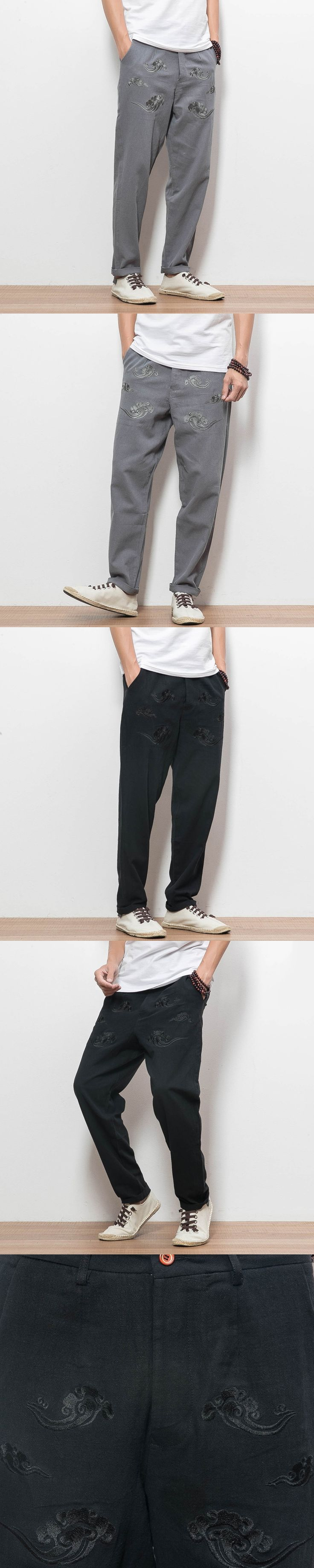 Chinese Style Men Casual Pants Embroidery Cotton Linen Trousers Male Loose Harem Pant Size M-5XL