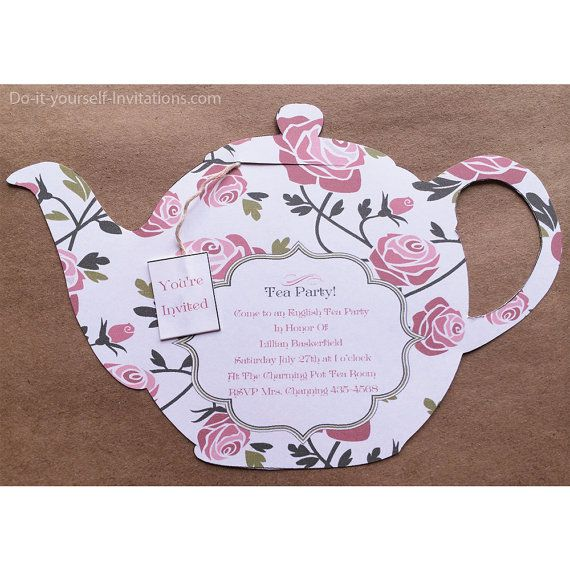 Tea Party Teapot Victorian White with Pink by DoItYourselfInvites