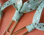 Items similar to Mint Gold Dot Arrow Ribbon Paper Clip Bookmark for books, bills, and planners on Etsy
