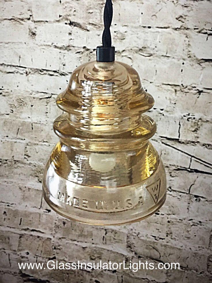 Glass Insulator Light - LED Glass Insulator Pendant Lights - Rare Champagne Color - Insulator Light by GlassInsulatorLights on Etsy https://www.etsy.com/listing/488102771/glass-insulator-light-led-glass