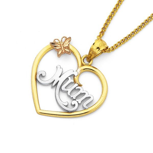 9ct Gold 'Mum' Heart Pendant