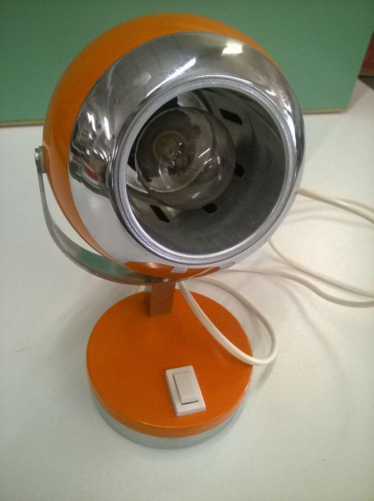 Lampada Da Tavolo Vintage Arancio Design Space Age Eyeball Anni '70 7