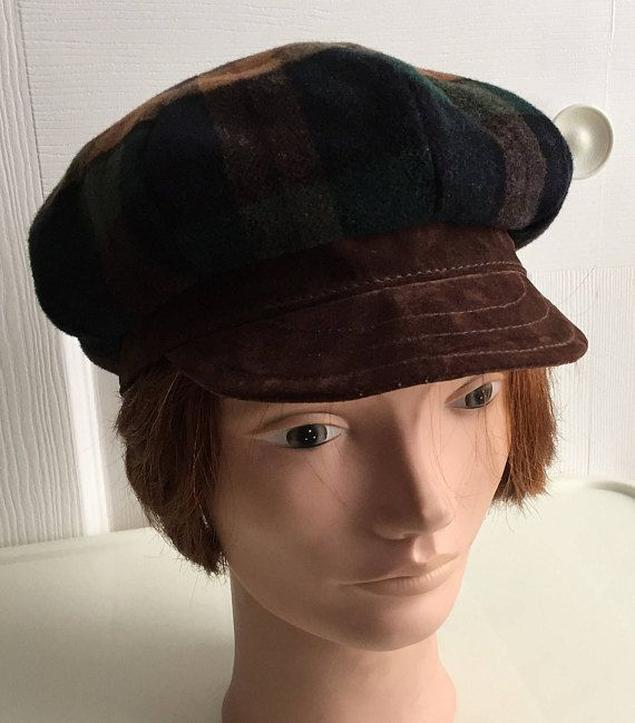 80s Green Brown Plaid Brown Suedine Men Women Newsboy Cap Hat Small ... 11db2a6d79a4