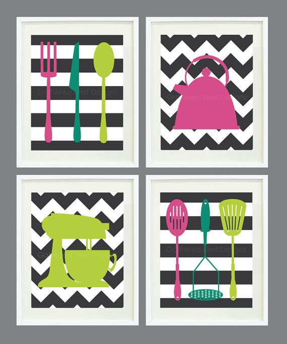 "Kitchen Art Prints - Chevron and Stripes - Set of 4  - Home Decor - 8""x10"" - In Fall 2012 Pantone Colors OR Choose your own colors"