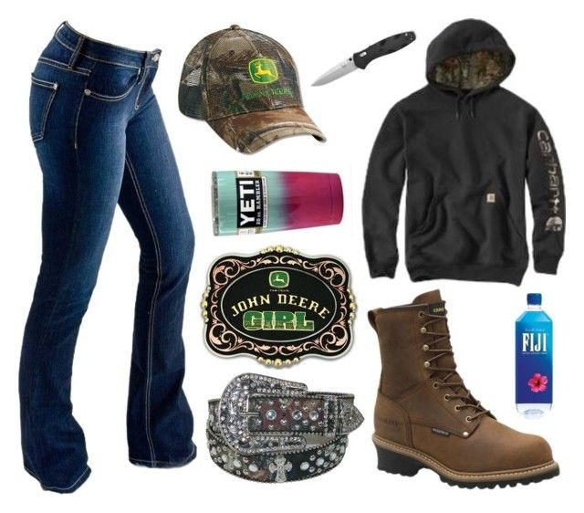 """""""Yall Are Lucky If You Have A Good Dad :("""" by im-a-jeans-and-boots-kinda-girl ❤ liked on Polyvore featuring Bullet, John Deere and Carolina"""