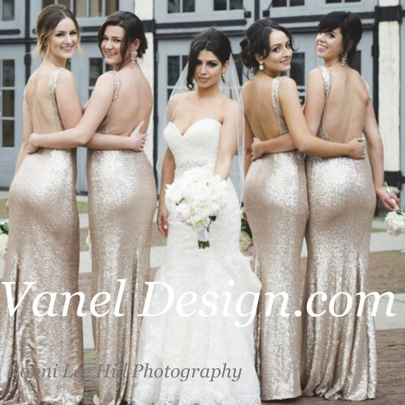 Long CHAMPAGNE Sequin bridesmaid dress cocktail by VanelDesign