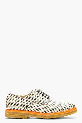 CARVEN Tan & White Textile Derby Shoes for men  Lace-up crepe rubber sole