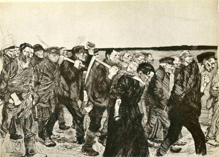 The March of the Weavers in Berlin, 1897 Kathe Kollwitz  - Kathe Kollwitz - WikiPaintings.org