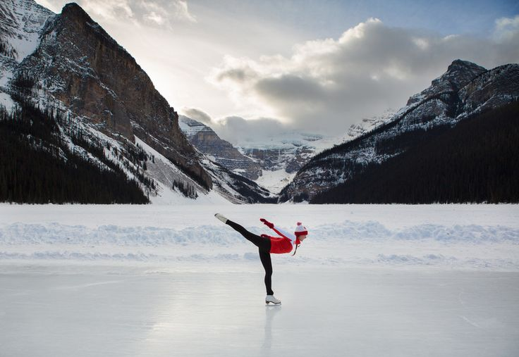 Lisa Bettany on the awesome outdoor skating rink on Lake Louise, Alberta; representing her Team Canada colours.