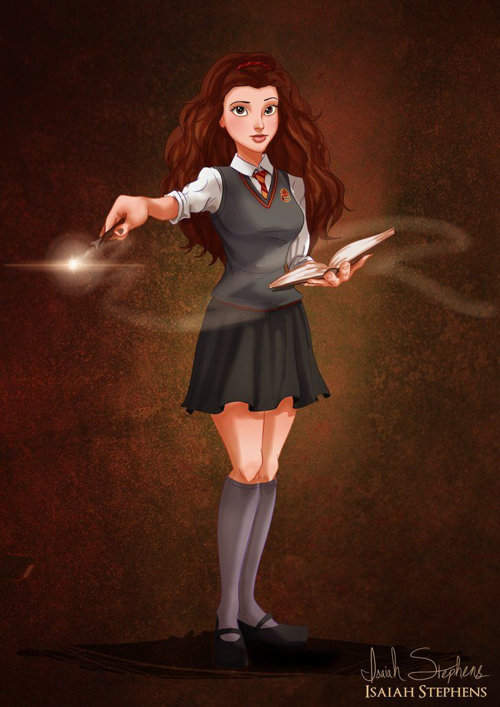 Pin for Later: Disney Princesses Like You've Never Seen Them Belle as Hermione Artist Isaiah K Stephens reimagined the ladies as if they decided to dress as superheroines for Halloween. Illustration by Isaiah K Stephens