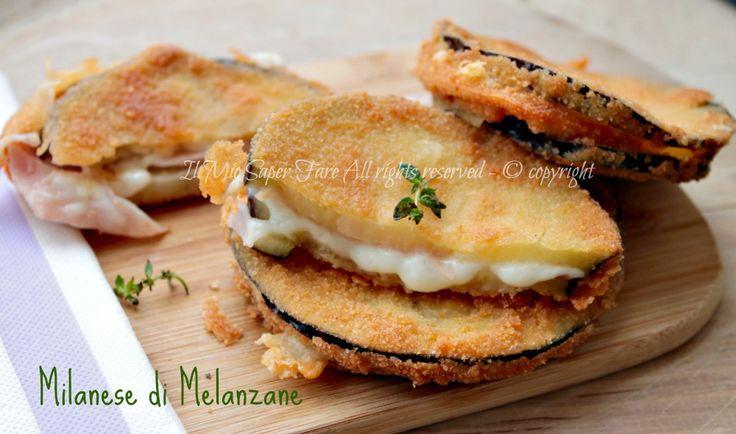 Milanese di melanzane scamorza e prosciutto ricetta il mio saper fare