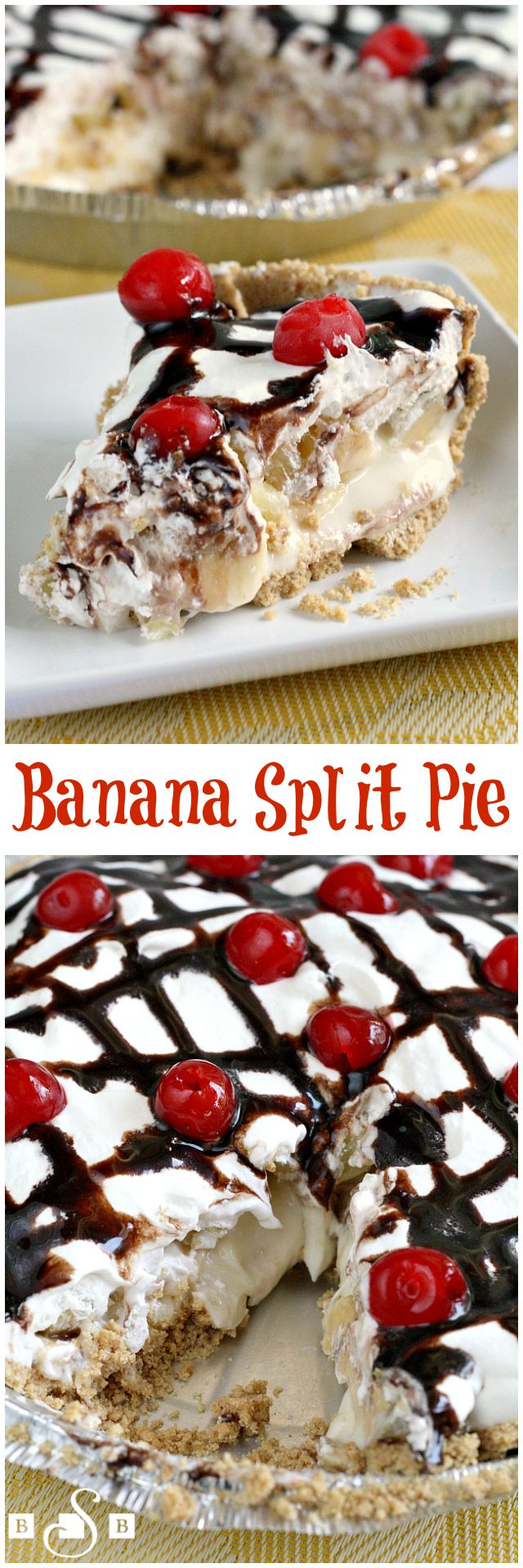 Banana Split Pie - all your favorite banana split flavors in one easy-to-make pie! Dessert recipe from Butter With a Side of Bread
