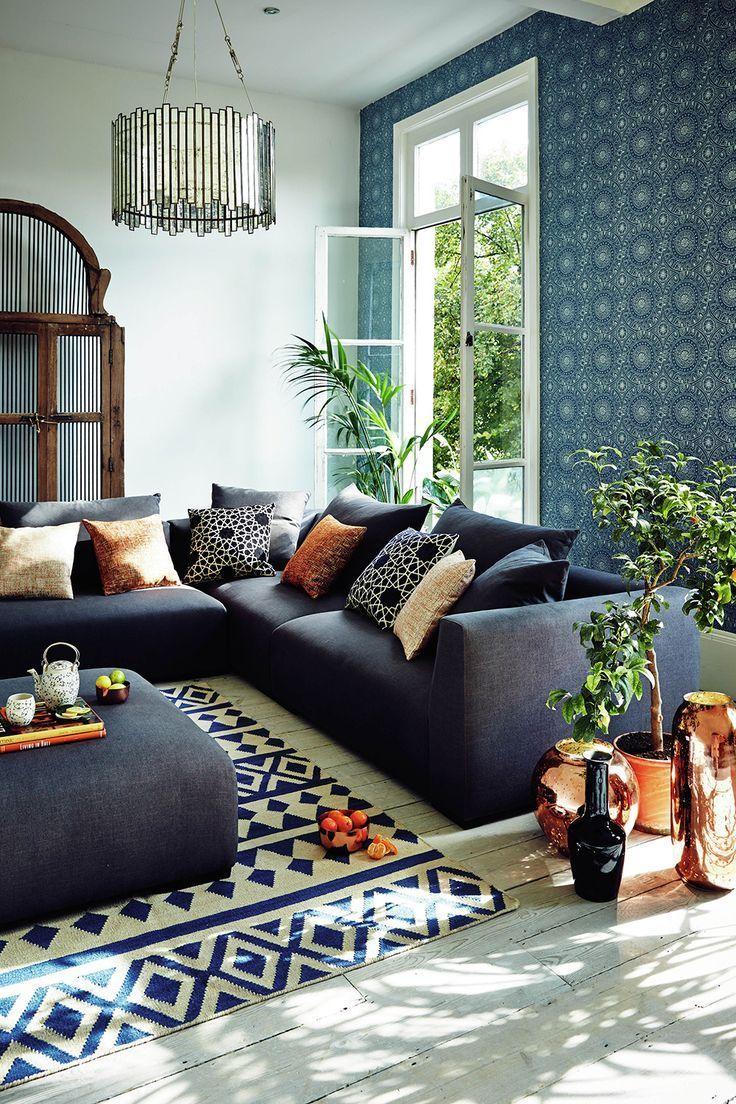 John Lewis Persia Wallpaper Slow Living Home Inspiration, John Lewis Amp Partners Pers… | Copper Living Room, Blue And Copper Living Room, Feature Wall Living Room